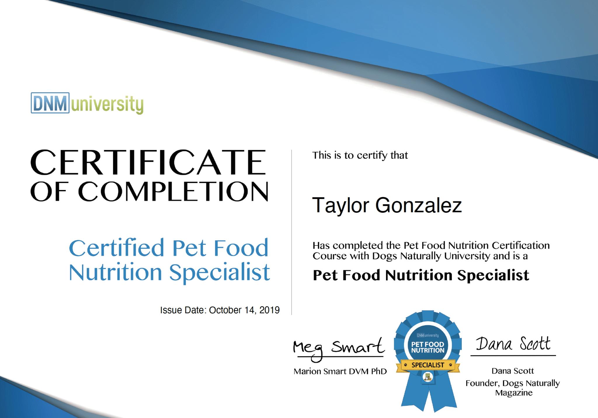 Certified Pet Food Nutrition Specialist Certificate - Taylor